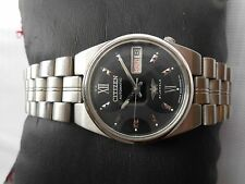 Vintage SS CITIZEN MIDSIZE 32MM BLACK GRAY ROMAN DIAL Gents Automatic WristWatch