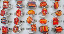 Wholesale Lots Mixed 25Pcs Natural Malachite Gemstone Tibet Silver P Rings FREE