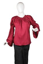 Caribbean Pirate Renaissance Wench Medieval Costume Girl Maroon Blouse Top 1770