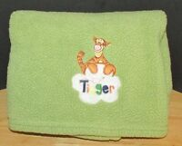 Disney WInnie the Pooh's friend Tigger sherpa fleece baby blanket green