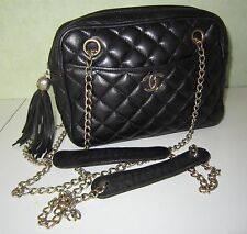 CHANEL superbe sac cuir leather chain fringe VINTAGE bag purse borsa