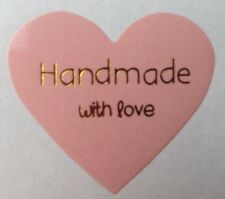 X60 Heart Hand Made With Love - Label Seal Stickers - Craft, Weddings, Homemade