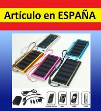 CARGADOR y bateria portatil SOLAR emergencia usb mp3 mp4 movil iphone cable