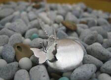 "20mm silver butterfly Real 925 sterling silver Pendant Necklace Chain 16""-18"""