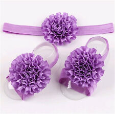 1Sets 3Pcs/Baby Infant Headband Foot Flower Elastic Hair Band Accessories Purple