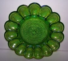 VINTAGE ORNATE IRIDESCENT GREEN CARNIVAL GLASS DEVILED EGG SERVING TRAY PLATTER