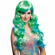 70cm Long Wig Aqua Blue Green Lagoona Mermaid Monster Siren Fancy Dress Wavy