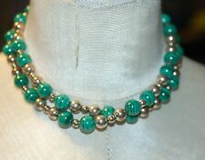 TIFFANY & CO. GORGEOUS MALACHITE STERLING SILVER BEAD NECKLACE 28 inches LONG