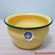 "7"" Vintage Enamel Ware Jug Spittoon Bowl Pot Antique Rustic Kitchen Green Trim"