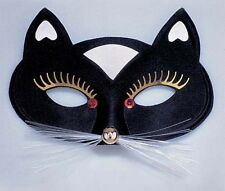 Ladies Black Cat Face Mask With White Detail & Ears Halloween Fancy Dress