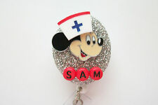 PERSONALIZED MICKEY HEAD RN NURSE MEDICAL DOCTOR VET OFFICE BADGE HOLDER