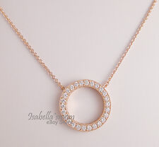 Genuine HEARTS OF PANDORA Necklace ROSE GOLD Plated/Clear Cz PENDANT & CHAIN New