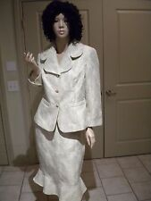 VICTOR COSTA IVORY METALLIC FLORAL EMBROIDERY BEAUTIFUL SKIRT SUIT NEW SIZE: 10