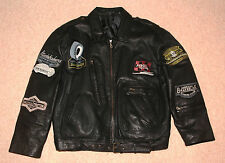 "NEW BIKER VINTAGE STYLE QUALITY BLACK LEATHER JACKET RETRO 1950's ""GREASE"" STYLE"
