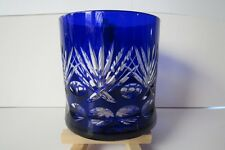 Antique Cobalt Blue Lead Crystal Clear Etched Whiskey Glass w/flared bottom