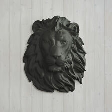 Wall Charmers Lion in Black Faux Lion Head Fake Animal Africa Taxidermy Resin