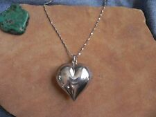 """Large Sterling Silver .925 Puffed HEART Pendant on Sterling Chain Necklace 30"""""""