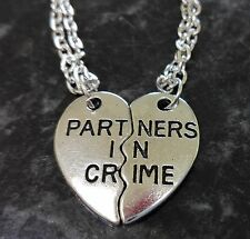 Partners In Crime Best Friends BFF Broken Heart 2 piece Necklace Set Silver Tone