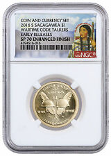 2016-S $1 Coin & Currency Set: Code Talkers NGC SP70 ER W/ PMG Banknote SKU41590