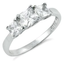 .925 Sterling Silver Ring size 6 CZ Engagement Wedding Fashion Ladies New pv25