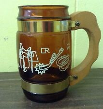 VTG SIESTA WARE #5 BROWN GLASS WOOD HANDLE WESTERN MOTIF MUG CUP