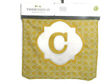 Threshold Pillow Cover Monogram Embroidered Letter C 18 x 18 Yellow New