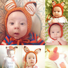 Toddler Newborn Baby Kids Girls Boy Crochet Earflap Fox Beanie Hat Warm Soft Cap