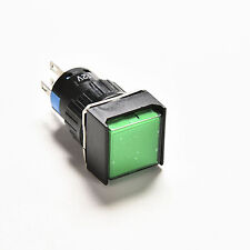 1x Green Square LED Light Latching 16mm 12V DC Push Button Self-Reset Switch JBC