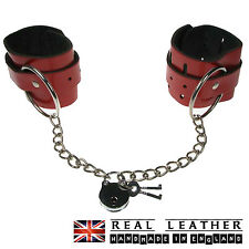 Plain Red Large Ring Chain Studded Handcuff Real Leather Made In England HC011