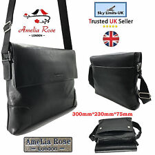 New Wide Black Travel Leather Bag Crossbody Men Women Messenger Shoulder Unisex