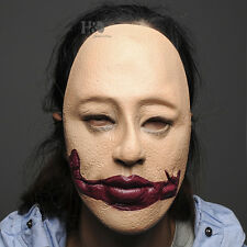 Scary Latex Gagged Human Skin Halloween Mask Masquerade Party Costume Dress Prop