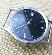 Rare!!! POLJOT QUARTZ c.2460 NAVY BLUE Vintage Soviet Russian Slim Mens Watch