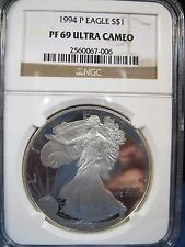 1994 P  SILVER EAGLE $1 NGC PROOF 69 ULTRA CAMEO