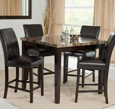 Counter Height Dining Set 5 Pc Small Kitchen Table Set Pub Table Dark Brown