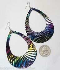 Large Bold Teardrop Dangle Pierced Earrings, Rainbow Colors & Black Zebra Stripe