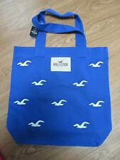 NWT Hollister Womens Classic Book Tote Bag Handbag by Abercrombie, Blue/White!