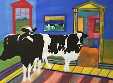 WOODY JACKSON Ben & Jerry's Artist Original Signed Cows Painting 1990 - LISTED