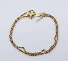 Slide Rope Chain Bracelet w/ Floral Filigree Clasp - 14K Yellow Gold - 7.25""