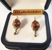 Koralle Ohrhänger 585 er Gold Emaille Ohrgehänge Ohrringe old coral / Art.YY 342