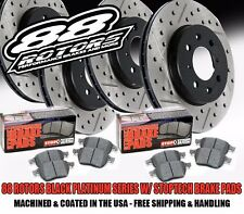 Front+Rear Drilled & Slotted Black Platinum Series Rotors & Stoptech Pads E36 M3