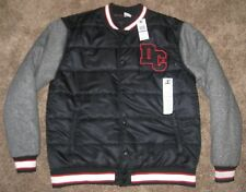 NEW XXL Mens DC Shoes Varsity Fleece Button Jacket Black Charcoal White Red $120