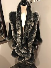 Carmen Marc Valvo Black Cashmere Fox Fur Trim Cape Poncho Jacket XL