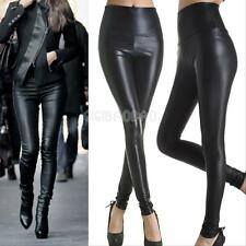 Fashion Womens Faux Leather High Waisted Stretch Skinny Pants Slim Leggings Sexy
