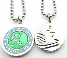 Saint Christopher Surf Medal Protector of Travel sg-bb Seagreen-Baby Blue