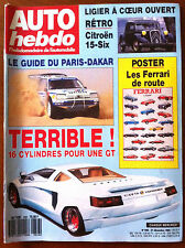 AUTO HEBDO 656 du 21/12/1988; Le guide du Dakar/ GT 16 Cylindres/ Citroen 15 six