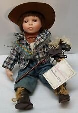 Cowgirl Porcelain Doll with Wood Horse Duck House Heirloom Doll
