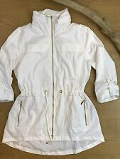 JM Collection white zip front lightweight lined parka zippered hood size L
