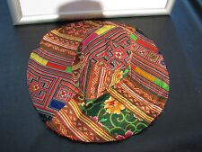 NEW Baybeats Hmong Fabric Embroidered Large Brim FLOPPY HAT Full Sz Hippie BEACH