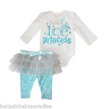 "NWT Baby Glam 2 Pc ""Daddy's Ice Princess"" Bodysuit & Tutu Pants Infant 6-9 M"