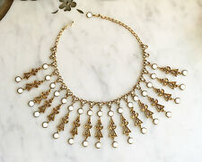 Vintage 60s GOLDETTE Milk Glass Fringe Choker Bib NECKLACE Boho Hippie